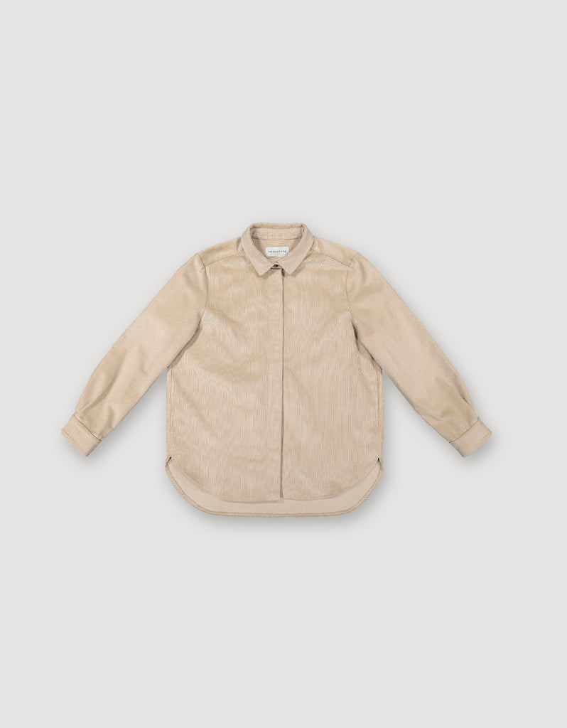 Long-sleeve beige corduroy button-up shirt