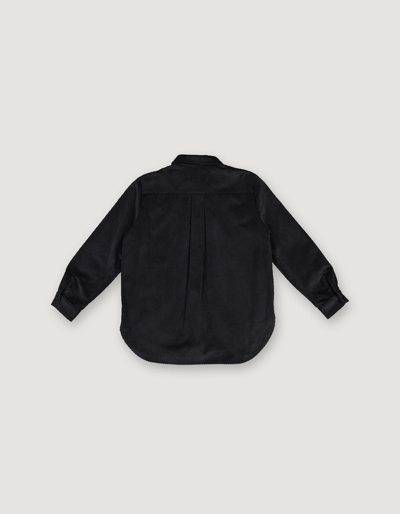Black shirt made from heavy cotton corduroy