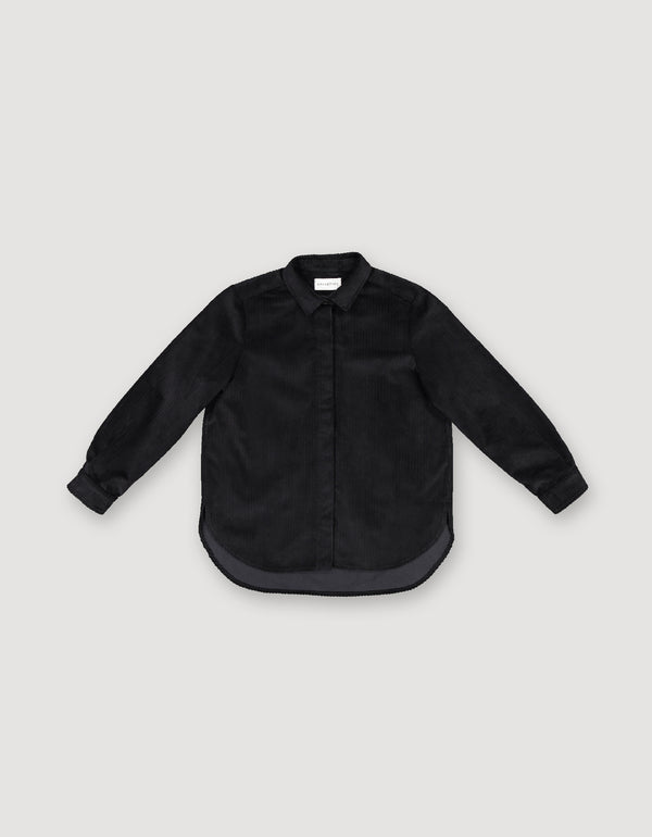 Long-sleeve black corduroy button-up shirt