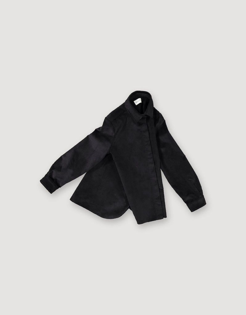 Black shirt made from sturdy corduroy with hidden buttons and sleek look