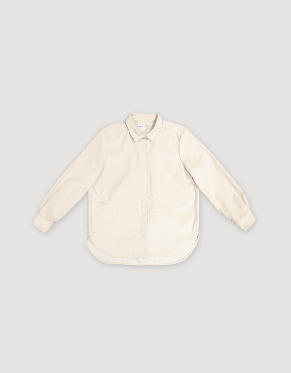 Long-sleeve natural white corduroy button-up shirt