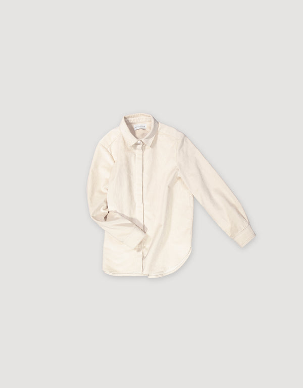 White shirt made from sturdy corduroy with hidden buttons and sleek look