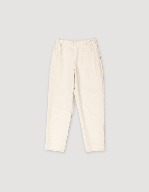 White tapered cropped corduroy trousers