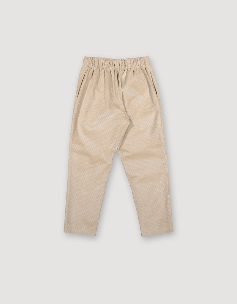 Beige tapered cropped corduroy trousers