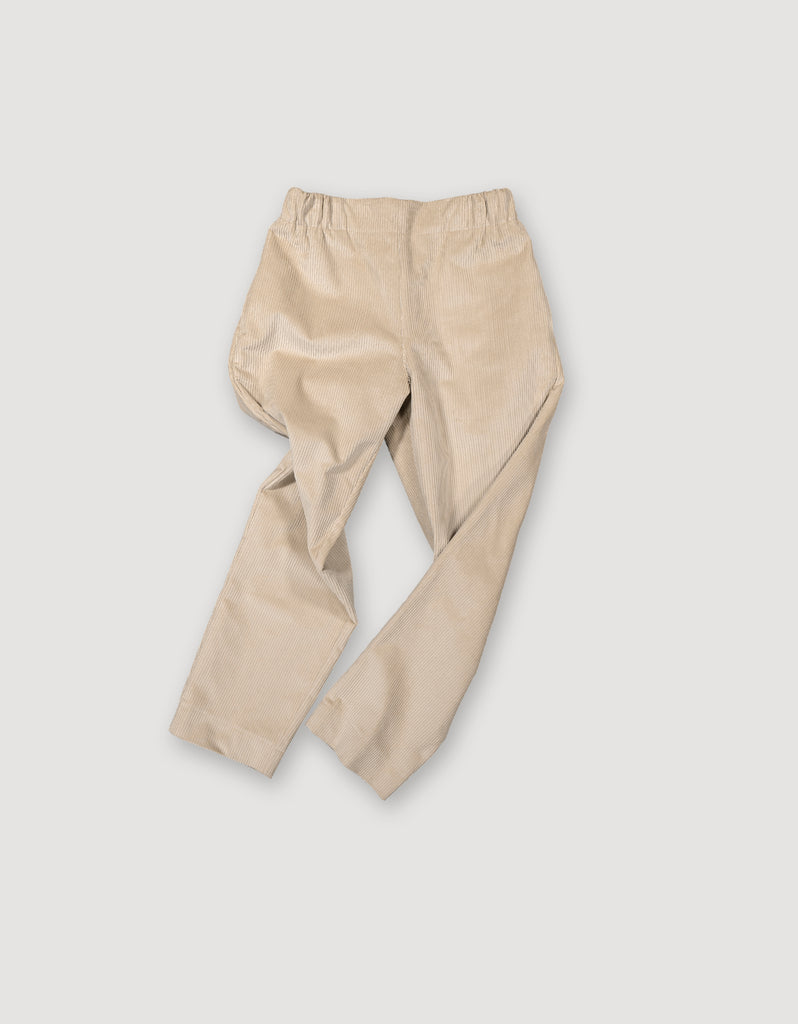 Sleek beige cotton corduroy trousers with elastic waist and deep side pockets