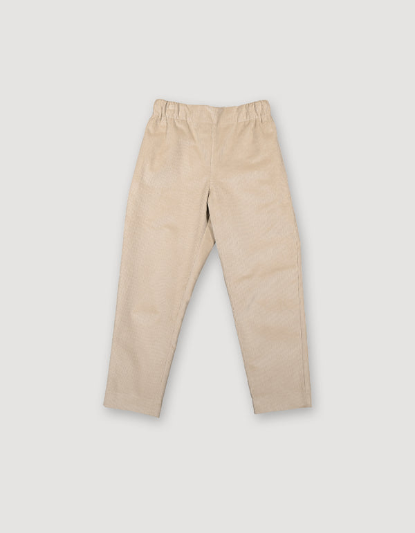 Beige tapered corduroy trousers