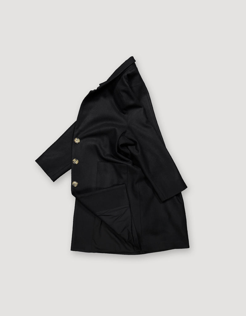 Loose fit sleek black overcoat