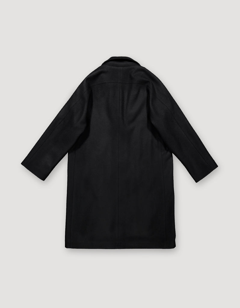 Archetype loosely tailored black wool coat