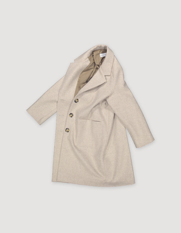 Loose fit sleek beige wool overcoat