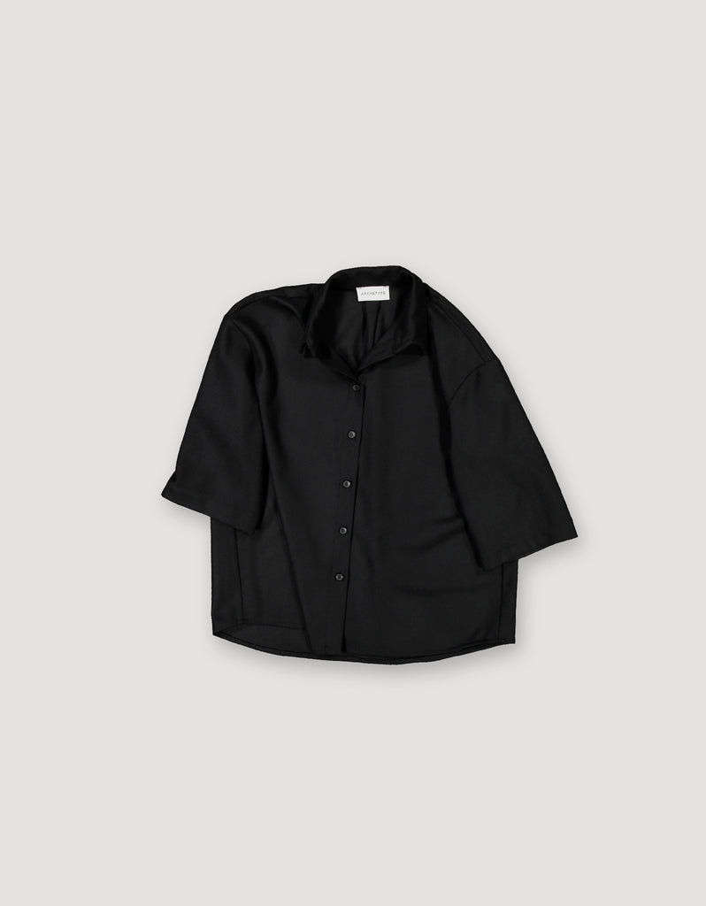 Black relaxed-fit button-up wool shirt