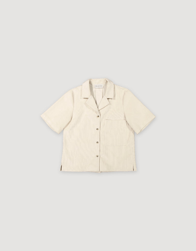 Short sleeve natural white corduroy blouse