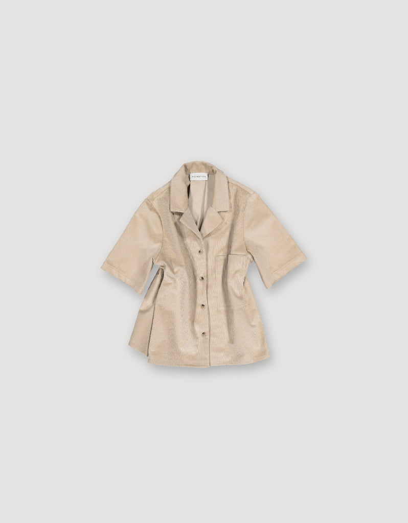 Short sleeve beige heavy cotton corduroy shirt