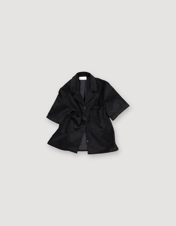 Short sleeve black heavy cotton corduroy shirt