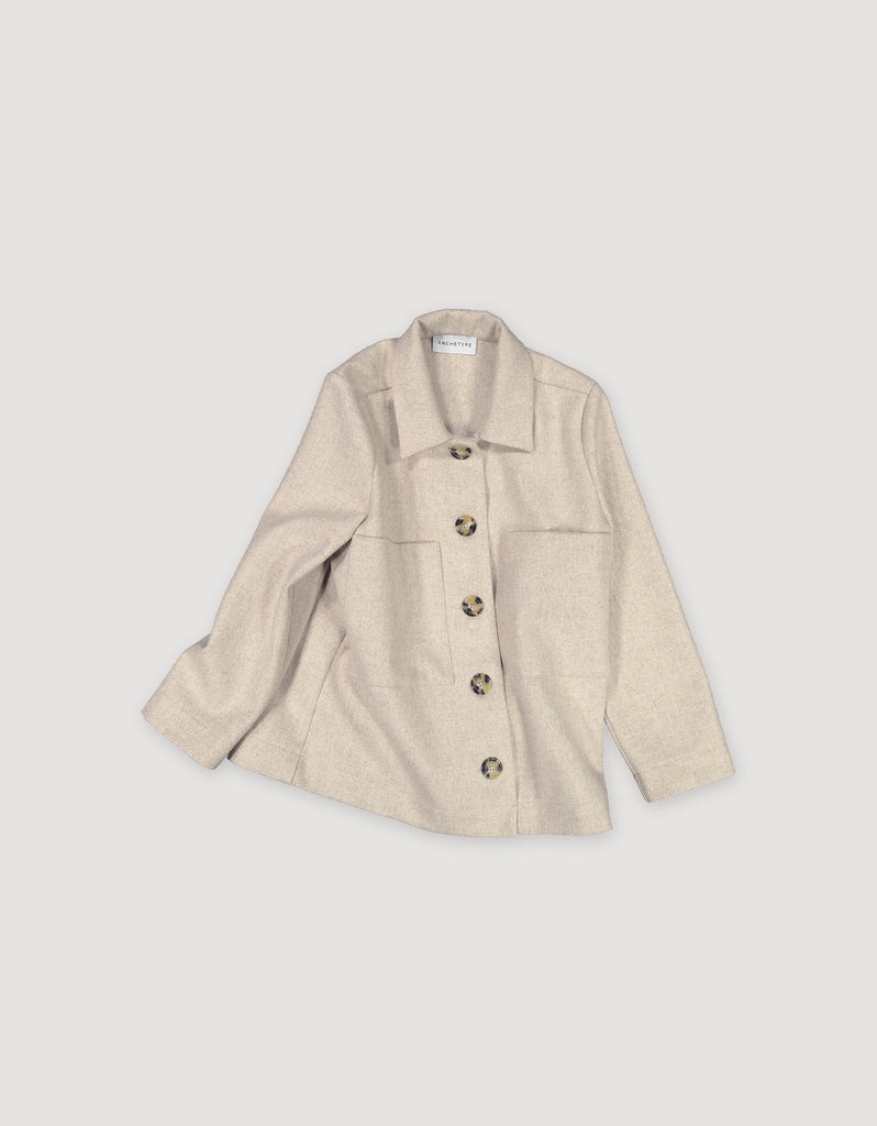 Work wear style beige wool utility jacket