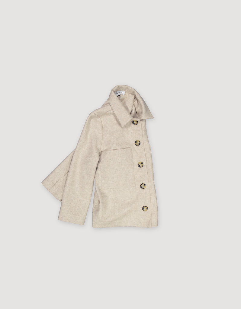 Sleek minimalist beige wool utility jacket with front patch pockets