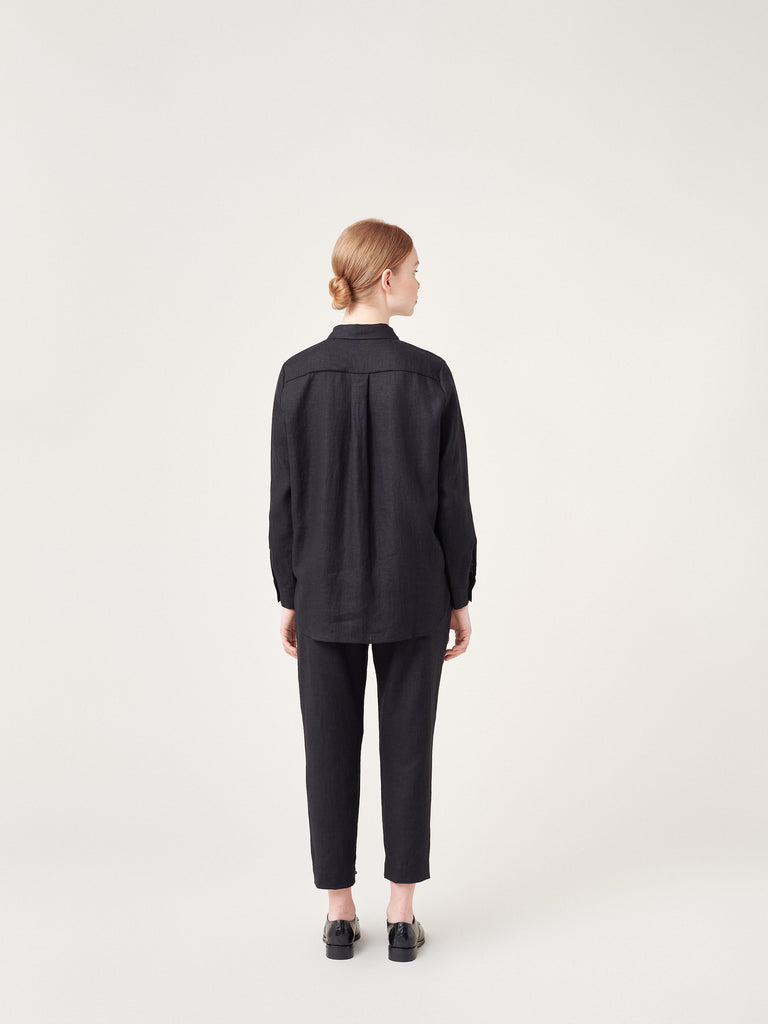 Black linen collar shirt