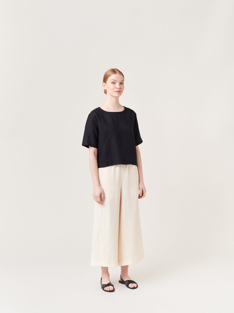 Ecru Off White Cream Linen Wide Leg Trousers