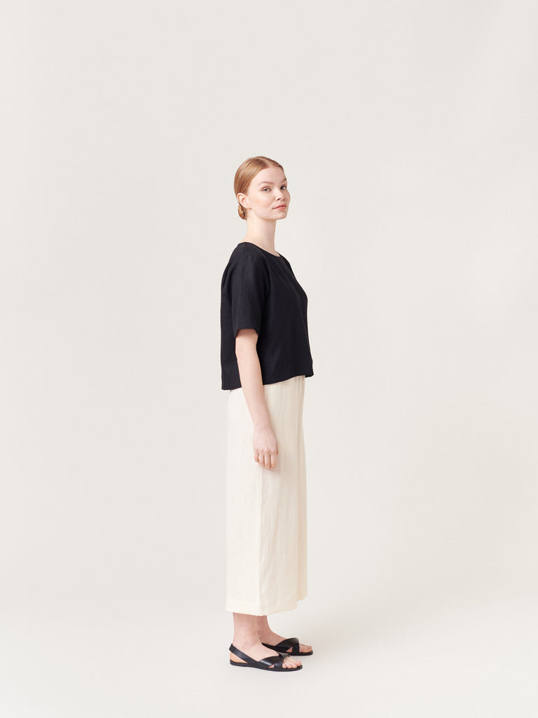 Ecru Off White Linen Wide Leg Pants