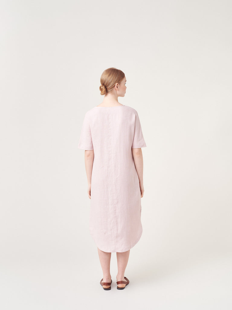 Faded Pink Linen summer t-shirt Dress