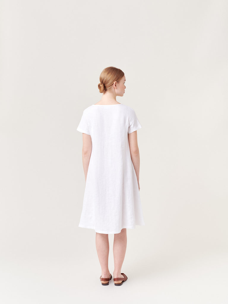 White linen summer dress
