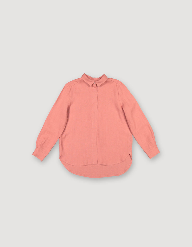 Salmon pink linen collar shirt