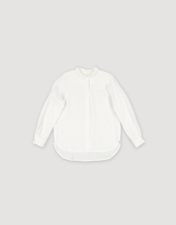 White linen collar shirt