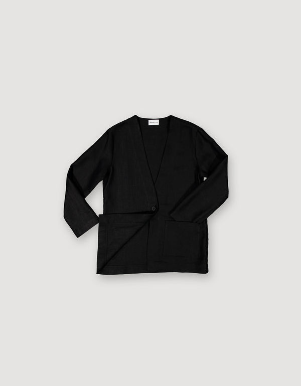 Black Linen Blazer Coat