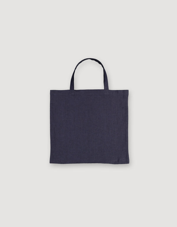 Blue Linen Tote Bag