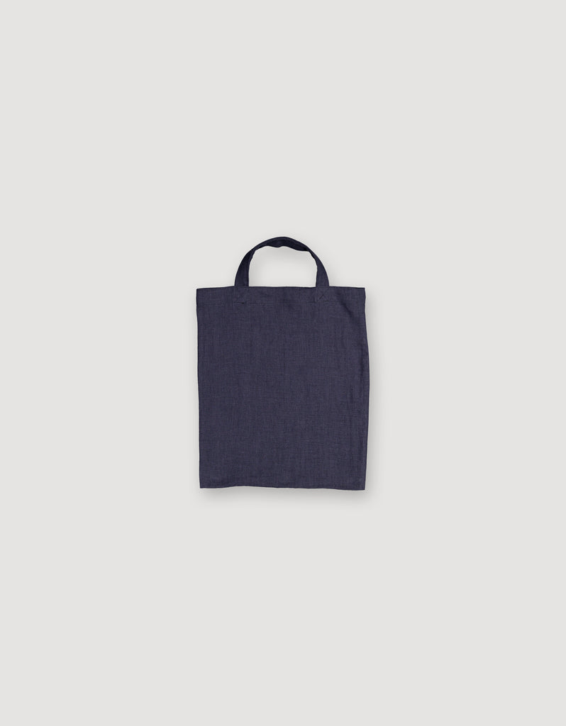 Blue Linen Small Tote Bag