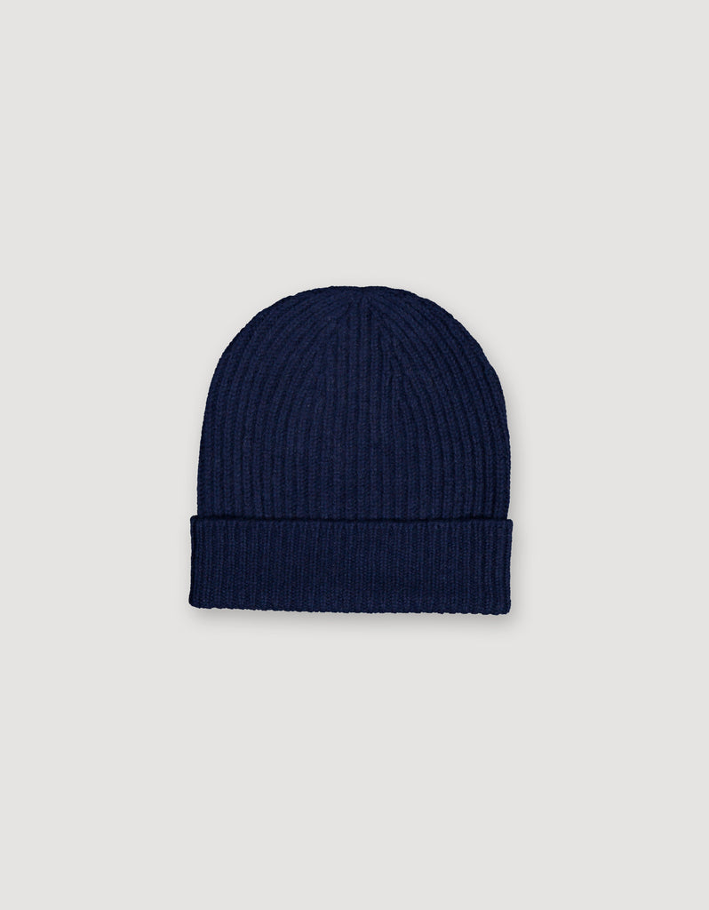 Dark Blue Cashmere Beanie Hat