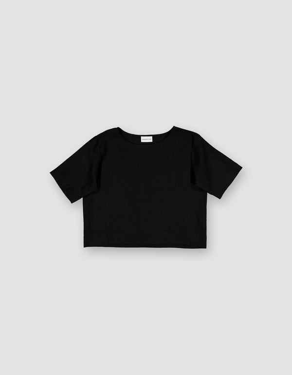 Black Linen Crop Top