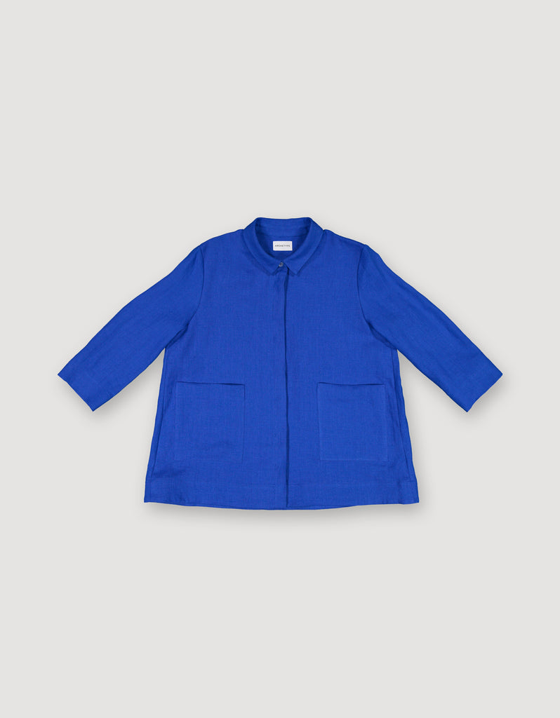 Bright Blue Linen Shirt Jacket