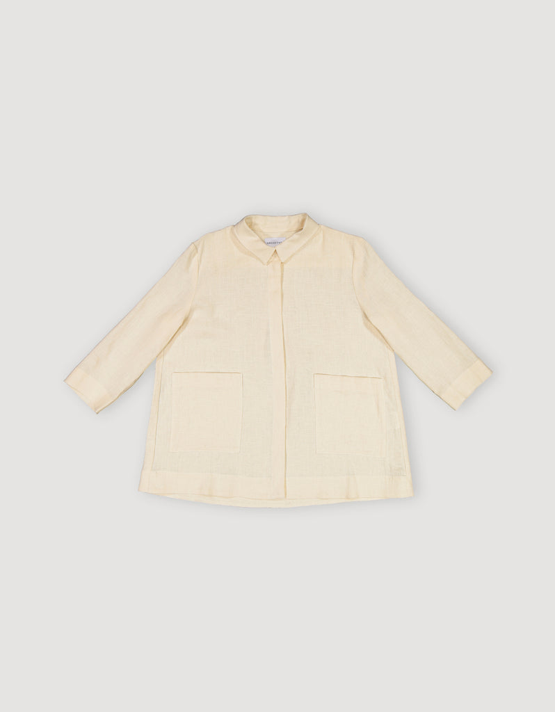 Ecru Off White Linen Shirt Jacket
