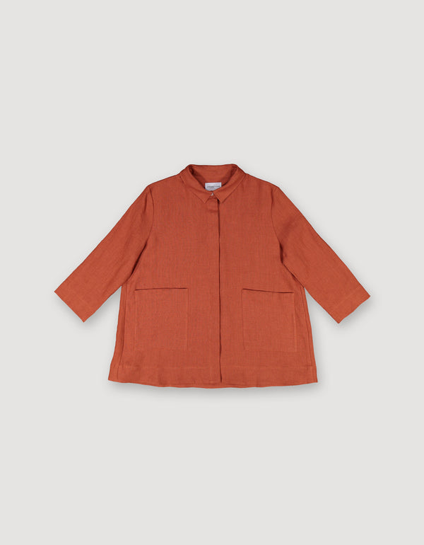 Nutmeg Rust Linen Shirt Jacket