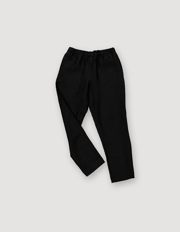 Black Linen Tapered Leg Trousers