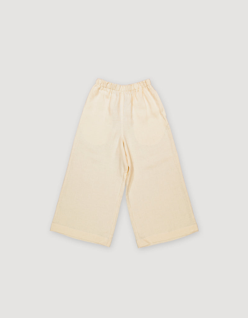 Ecru Off White Linen Wide Leg Trousers