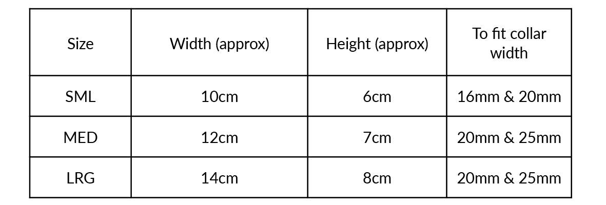 Moo Moo & Bear Dickie & Bow Size Guide