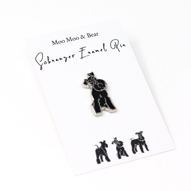 MOO MOO & BEAR BLACK SCHNAUZER ENAMEL PIN BADGE