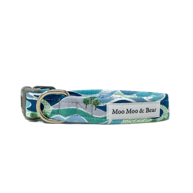 'FELLS AND PEAKS' DOG COLLAR AND OPTIONAL LEAD IN BLUE