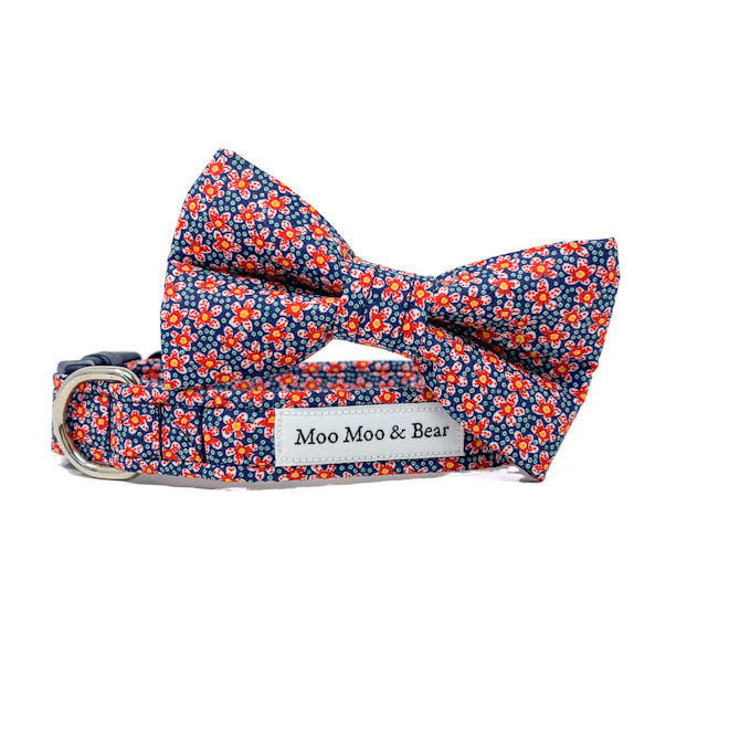 LIBERTY OF LONDON SPECKLE FABRIC DOG COLLAR FLOWER