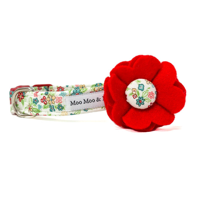 'KATY' DOG COLLAR FELT FLOWER