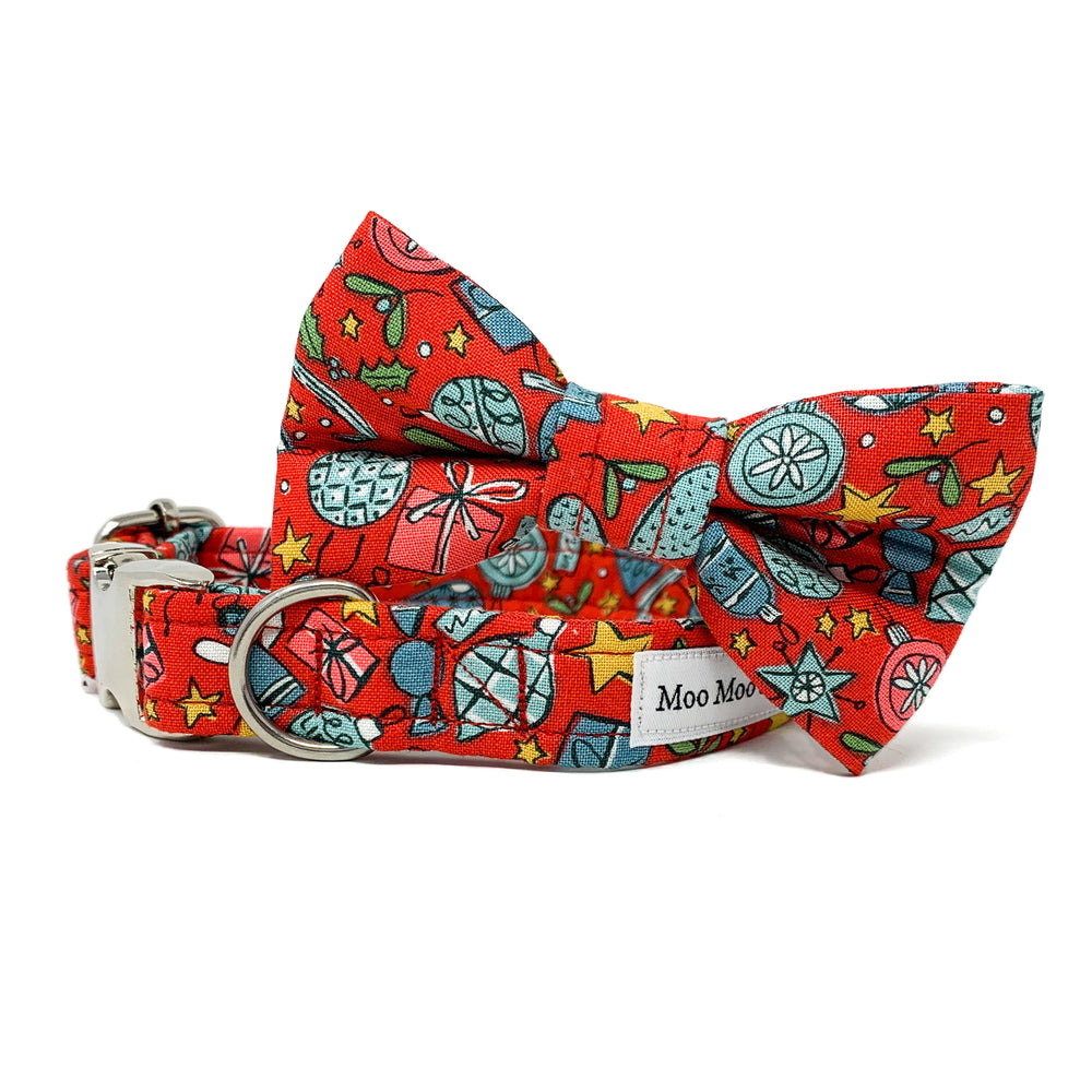 CHRISTMAS AT LIBERTY FESTIVE JOY RED DOG COLLAR AND OPTIONAL LEAD