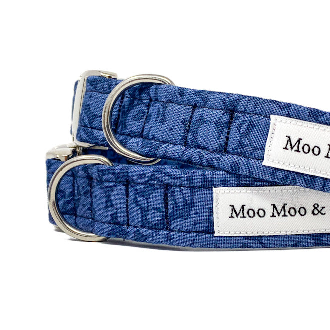 LIBERTY OF LONDON WILTSHIRE INDIGO COTTON DOG COLLAR AND OPTIONAL LEAD