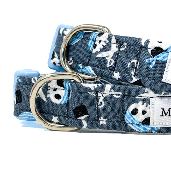 'CAPTAIN JACK' DOG COLLAR AND OPTIONAL LEAD IN GREY
