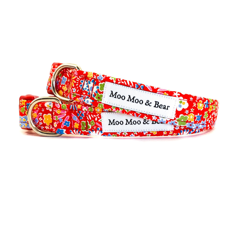 Kayoko red Liberty of London dog collar