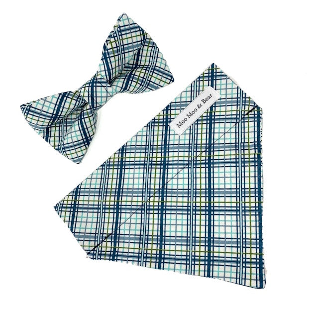 'SHORE PLAID' DOG BANDANA