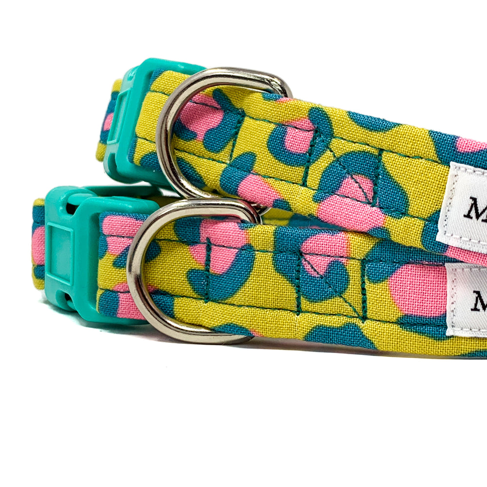 'FIERCE' DOG COLLAR AND OPTIONAL LEAD IN MUSTARD LEOPARD PRINT