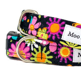 'SECRET GARDEN' DOG COLLAR AND OPTIONAL LEAD IN BLACK