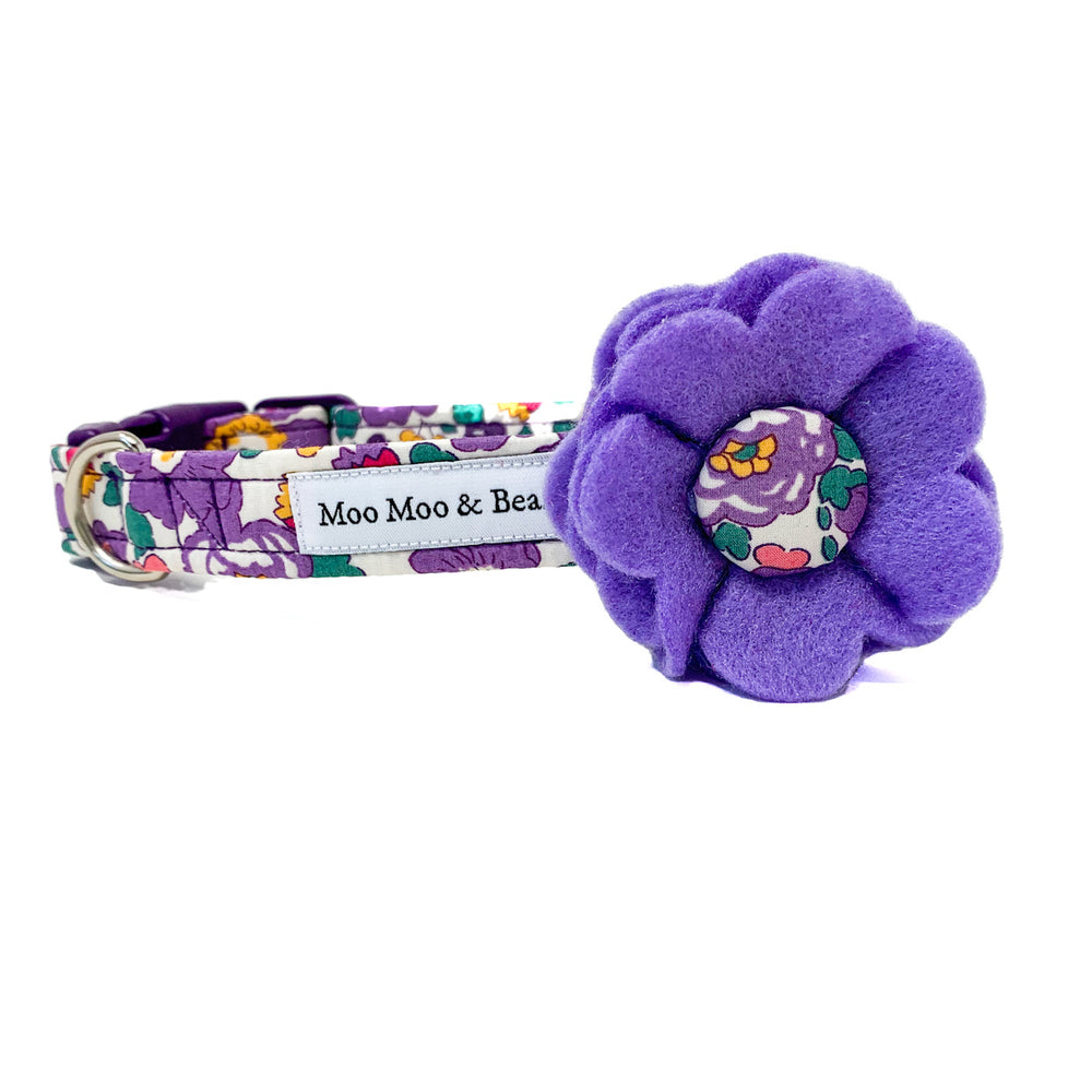 lilac felt dog collar flower with Liberty handmade button