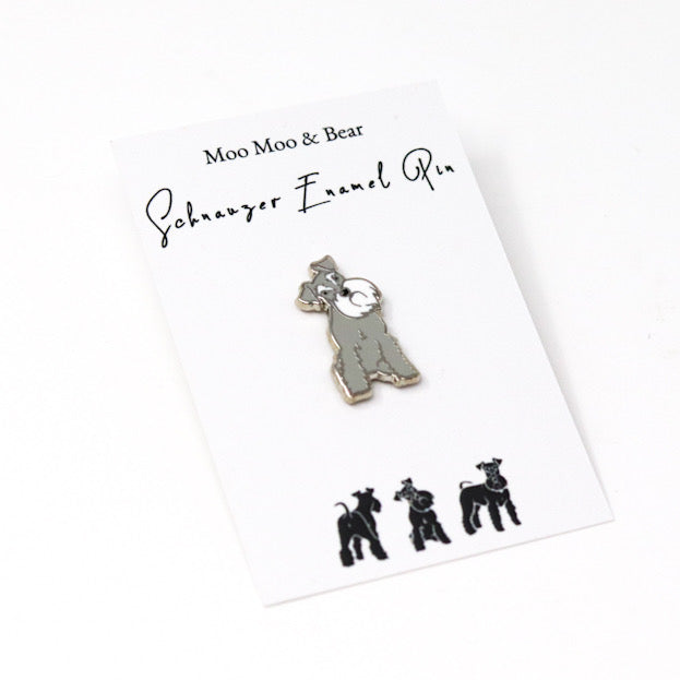 MOO MOO & BEAR PEPPER AND SALT SCHNAUZER ENAMEL PIN BADGE